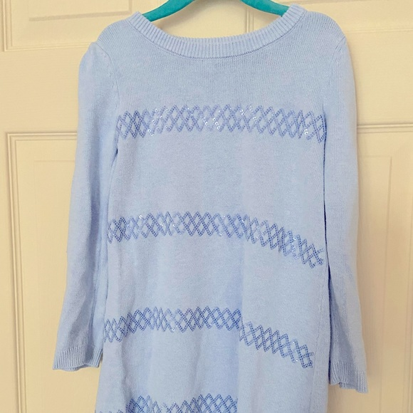 Gymboree blue sweater dress with sequins size 6